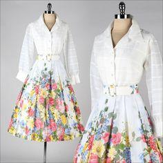 ➳ vintage 1950s dress    * white acetate top * cotton skirt  * acetate lining  * button front closure  * matching belt    condition | excellent