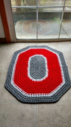 Ready to Ship Ohio State Buckeyes Crochet Rug - Handmade Block O Rug - Ohio State Home Decor