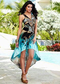 High low print dress, shoes