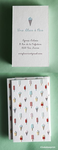 Cute Letterpress business cards produced with seven colors on 40pt cotton. Produced by #jukeboxprint:
