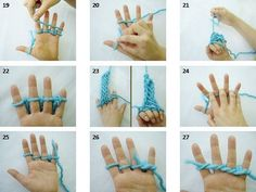knitting a scarf Finger Crochet, Finger Knitting, Arm Knitting, Knitting Patterns, Knitting Tutorials, Yarn Crafts, Diy Crafts, Diy Scarf, Crochet Instructions