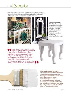 Get the latest home decor inspiration and news from the editors of House Beautiful Magazine. White Painted Furniture, Painting Furniture, White Paints, Paint Colors, Beautiful Homes, Kitchen Design, Carving, September 2014, Sculpture