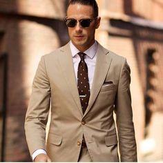 Hot Sales Mens Suits Business Style Peaked Lapel Two Buttons Tuxedo Formal Two Pieces Tweed suit brown - homme Khaki Suits, Men's Suits, Cool Suits, Mens Khaki Suit, Beige Suits For Men, Brown Suits, Costume Marron, Estilo James Bond, Suit Fashion