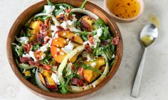 [I love the idea of grilling peaches and serving them in a savory way!] Grilled Peach Salad from @Relish Magazine