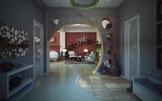 Unexpected architectural interest is created in the irregular curve of the doorway between the hall and the living room, featuring circular . Artwork For Home, Inside Design, Architectural Features, You Draw, Home And Deco, Style At Home, Interiores Design, Interior Architecture, Amazing Architecture