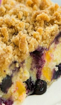Peach Coffee Cake Blueberry and Peach Coffee Cake (use Pamela's GF baking mix instead of flour, reduce baking powder)Blueberry and Peach Coffee Cake (use Pamela's GF baking mix instead of flour, reduce baking powder) Blueberry Recipes, Fruit Recipes, Sweet Recipes, Baking Recipes, Dessert Recipes, Peach Blueberry Cake Recipe, Peach Blueberry Cobbler, 13 Desserts, Puddings