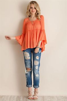Vibrant Bell Sleeve Top