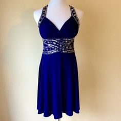ADRIANNA PAPELL  Formal Dress Adrianna Papell Blue with Sequins Crisscross Straps. Gorgeous and worn once. Like New! Andriana Papell Dresses Prom