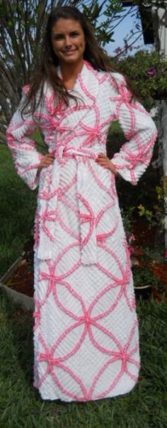 Hot pink wedding ring vintage look chenille robe