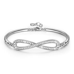 """50% OFF SALE PRICE - $28.99 - LadyColour """"Endless Love"""" Infinity Bangle Bracelets, Made With Swarovski Crystals"""