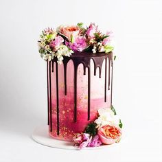 Check this beauty. Watercolour buttercream + fresh blooms!  via @cake_ink x