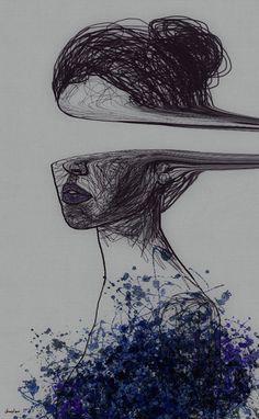 Creatives of Indie Art Painting Inspiration - Dark Art Drawings, Art Drawings Sketches Simple, Cool Drawings, Drawing Ideas, Creative Pencil Drawings, Modern Drawing, Arte Sketchbook, Sad Art, Aesthetic Art
