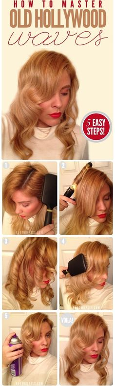 Get loose, Hollywood waves with this step-by-step hair tutorial, and this retro look is yours.