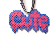 Creepy Cute Perler Bead Kawaii Fairy Kei Pink and Blue Necklace