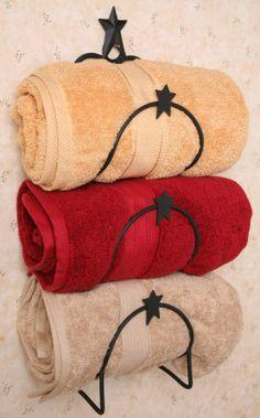 Primitive Country Bathrooms | New Primitive Country Star Bath Towel Holder Wall Rack Bar Bathroom ...