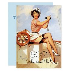 50th Birthday Vintage Sexy Pin Up Girl Custom Invitation Funny Birthday Invitations, Vintage Invitations, Custom Invitations, Birthday Themes For Adults, Birthday Ideas, Sexy Pin Up Girls, Cute Brunette, Card Invitation, Retro Pin Up