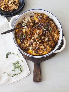 Crispy Garlic Roasted Cauliflower Recipe with custardy eggs and crispy panko crumbs topping | CiaoFlorentina.com @CiaoFlorentina
