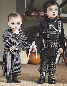 Tim Burton's characters, Jack the Skellington and Edward Scissorhands. Handmade with love from Mama. #costumes