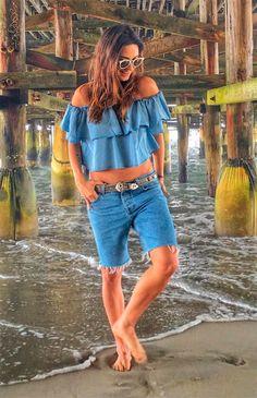 Look praia com jeans.