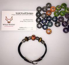 Handmade leather bracelet with Tiger's eye and orange marble gemstone beads