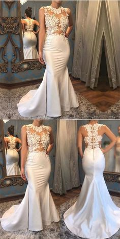 Mermaid Scalloped Button Beaded White Prom Dress with Appliques Custom Bridesmaid Dresses Applique Wedding Dress, Wedding Dress Sizes, Long Wedding Dresses, Boho Wedding Dress, Prom Dresses, Lace Wedding, Illusion Neckline Wedding Dress, Wedding Dress Necklines, Illusion Dress