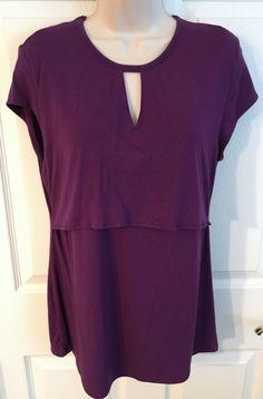 Milk Nursingwear Sz Large Stretch Short Sleeve Nursing Blouse L Purple | eBay