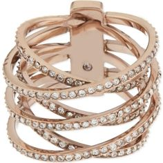MICHAEL KORS JEWELLERY Brilliance pavé criss-cross ring ($180) ❤ liked on Polyvore featuring jewelry, rings, bracelets, rosegold, pave jewelry, pink gold rings, rose gold pave ring, rose gold bracelet and pave bracelet