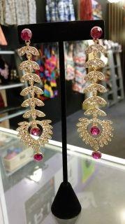 Phoenix Fuschia Bling Drop Earrings