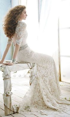 elegant wedding dress love the detailed lace and back