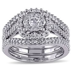 Miadora Signature Collection 10k White Gold 3/4ct TDW Diamond Bridal Ring Set