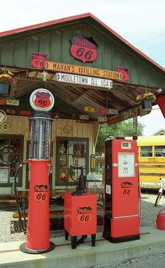 Old fashioned gas pumps at Bill Shea's filling station he opened on Route 66 more than 50 years ago.