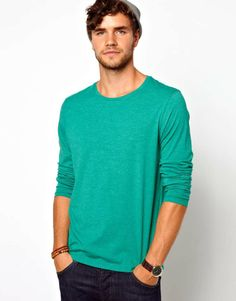 ASOS Long Sleeve T-Shirt With Crew Neck on Wantering   Emerald Green   mens sweater #menssweater #menswear #mensstyle #mensfashion #asos #wantering http://www.wantering.com/mens-clothing-item/asos-long-sleeve-t-shirt-with-crew-neck/ad7CP/