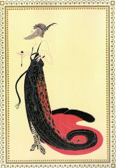 """ZWARTE magie Vamps collectie"" chique originele Vintage ERTE Art Deco Print…"