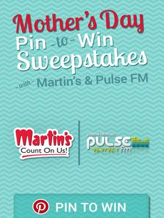 Pin this pin to be entered into our Mother's Day Sweepstakes!
