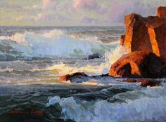 Calvin Liang, Carmel Waves, oil, 12 x 16.