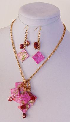 Pink Earring Necklace Set Jewelry by Newjewelryboutique,