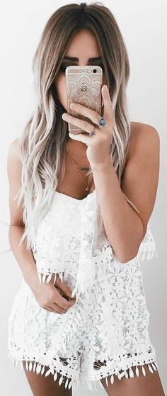 #summer #girly #outfits |  White Lace Romper