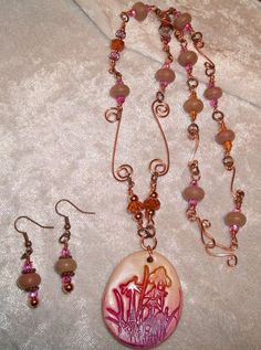 $28.00 Pink Wildflowers Handcrafted Copper Wire Wrapped Necklace Earrings Set Original #Handmade #Pendant nature, wildflowers,casual wear