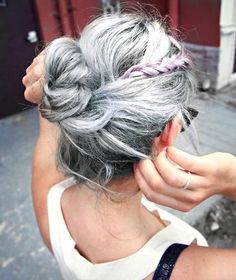Bright silver hair while keeping some lowlights.