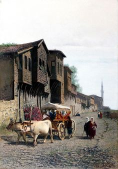 İstanbul Paintings Achille Befani was an Italian painter best known as Achille Formis. The works on Eastern subjects that he painted on his return from repeated travels the Near East were highly esteemed This work located at in istanbul Italian Painters, Italian Artist, Sans Art, Google Art Project, Exotic Art, Turkish Art, True Art, Ottoman Empire, Watercolor Landscape