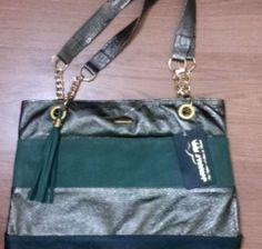 Bolsa de Couro Verde e Metalizado | Loja Café Brechó