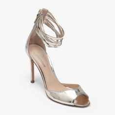 Delman Shoes Ali Heel In Silver Mirror Metallic