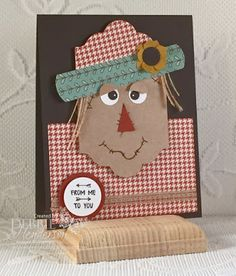Control Freaks September Blog Hop using Stampin' Up! Punches and Framelits to create a scarecrow. Debbie Henderson, Debbie's Designs.