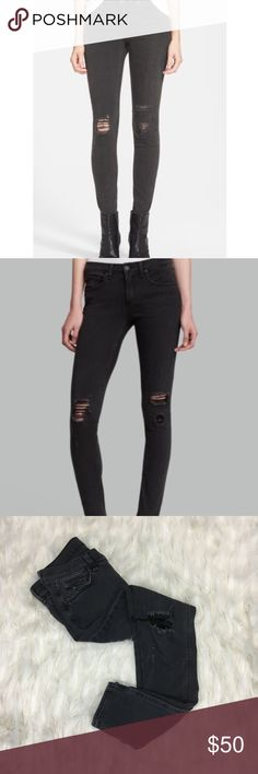 "Rag & Bone ""the skinny"" soft rock w/ holes SZ 27 Brand: rag & bone  Style: the skinny in soft rock w/ holes extremely soft distressed light black/ dark gray color  Size: 27 inseam 29"" EUC -Only one flaw! One stain shown in picture)  No rips or holes (outside of style)   Questions welcomed. Fast replies. Same day shipping  💄 Happy Poshing 668 rag & bone Jeans Skinny"