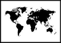 Världskarta poster Affisch med världskarta. Tavla med svartvit världskarta. Vi har även samma världskarta med guldfoliering. Jättefin som tavla i vardagsrummet. Desenio.se / Desenio.com