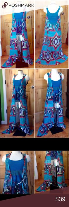 "S TWELVE Long Geo Print Mesh Halter-Style VEST EUC S TWELVE Long Geo Print Mesh Tie-Front Halter-Style VEST EUC Women's Sz. L *Fits like M/L. Refer to Measurements BELOW! •DETAILS:  *Gorgeous Geo Southwest Pattern ALLOVER!  *Ties in Front but Looks Beautiful when Worn Open too! *Bottom of BOTH Ties have Tiny Faux Jewels attached! SEE 4th Pic.  *Worn ONLY 1x! It's in FANTASTIC Shape! •MEASUREMENTS: Bust- 35"" - 37""; Length- 56"" •MATERIAL: 60% Polyester, 40% Nylon  •CARE: Hand Wash w/ Cold…"