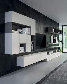Search all products, brands and retailers of Storage walls: discover prices, catalogues and new features Tv Cabinet Design, Tv Wall Design, Tv Unit Design, Küchen Design, Design Case, House Design, Living Room Wall Units, Home Living Room, Living Room Designs