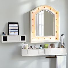 Hannah Beauty Mirror + Shelves- the mirror? Not so much... A shelf with speakers for my iPad and the shelf with places for a curling iron and stuff? YES!!!!!!