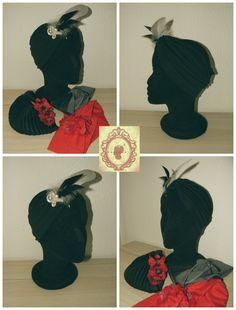 Turbante abierto en negro con aplique y plumas