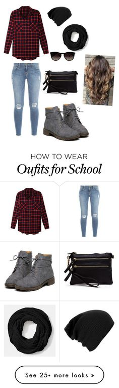 """""""School"""" by bands-and-all-black on Polyvore featuring LE3NO, Ray-Ban, Coach and Frame Denim"""